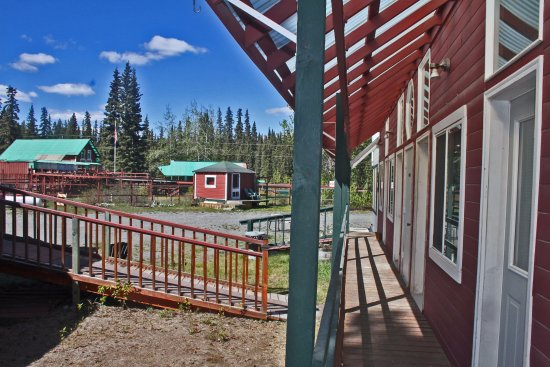 Copper Center, AK: View from outside door, room 2, showing Cabin C and walkway to lavatories.