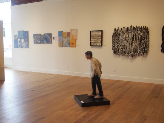 Northwind Arts Center: One of the walls of an exhibition of work in encaustic. Such a wonderful variety!