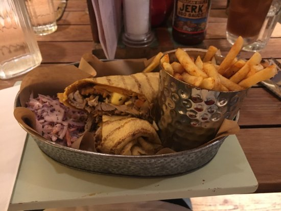 Jerk Chicken Wrap With Spicy Fries Picture Of Turtle Bay Caribbean