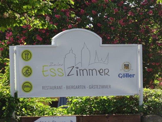 Zeil am Main, Deutschland: Hinweisschild am Biergarten