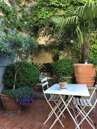 L'Evêché : A corner of the breakfast patio.