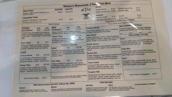 Athens, GA: The menu at Mannaweenia
