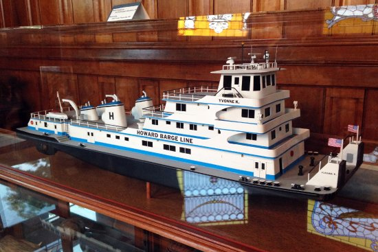 Jeffersonville, IN: This modern day towboat model was recently restored and brought to the museum for display