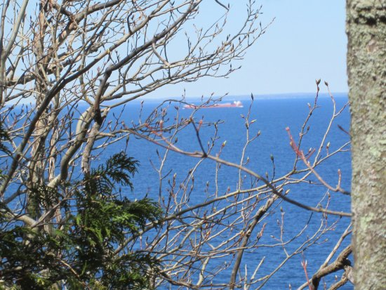 Ellison Bay, WI: Ship in Lake Michigan from Door Bluff.