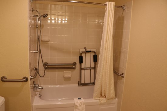 Grass Valley, CA: Soap dishes and grab bars at different levels. Note also, the shower bench. Great design!