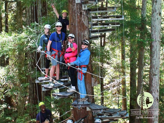 Sonoma Canopy Tours: Us, another happy couple & our 2 amazing Guides!