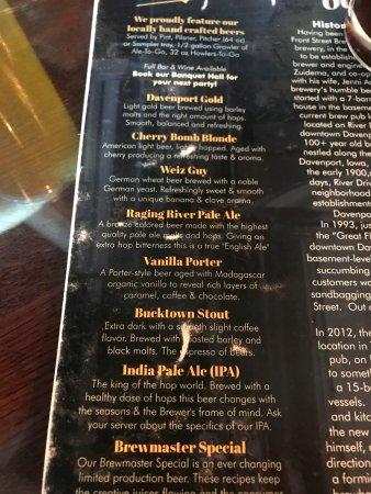 Front Street Brewery: menu