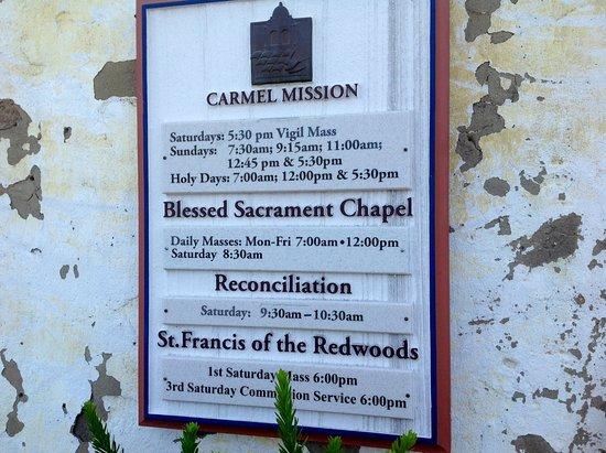 Carmel Mission: Sign at the entrance of visitors center