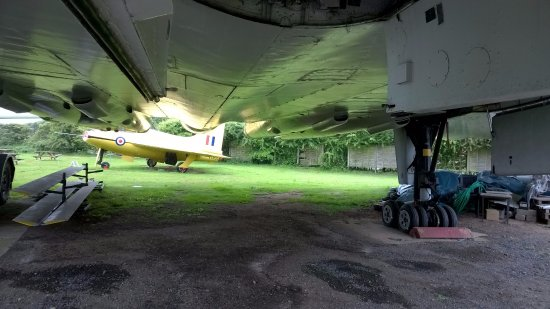 Coventry, UK: Midland Air Museum - under the Vulcan (sheltering from the rain!)