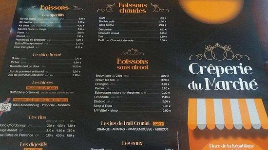 Pont-l'Abbe, Francia: Carte des boissons