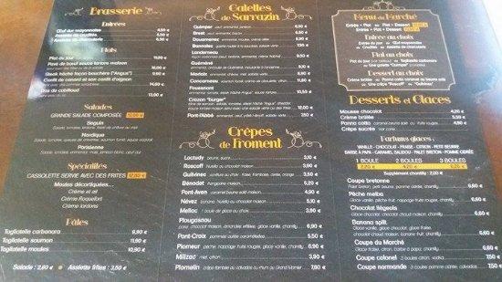 Pont-l'Abbe, Γαλλία: Carte brasserie, crêpes, menus et glaces