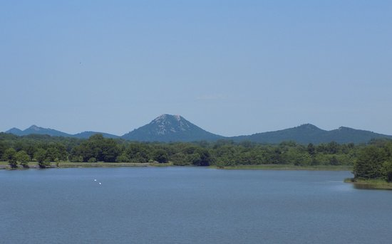 View of Pinnacle Mountain from the riverfront park.