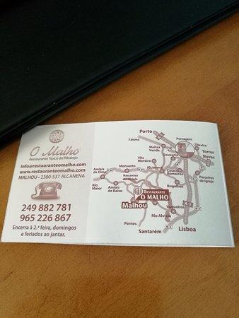 Alcanena, Portugal: Cartão do restaurante (verso)