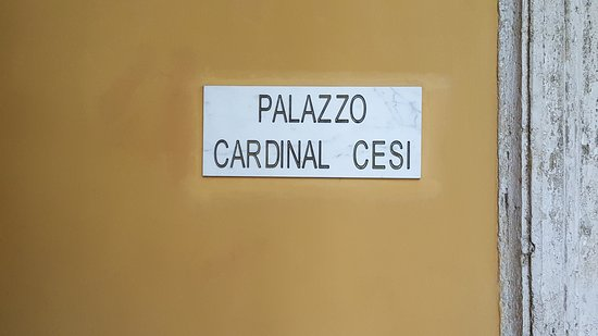 Palazzo Cardinal Cesi: Just the simple plaque outside the hotel.