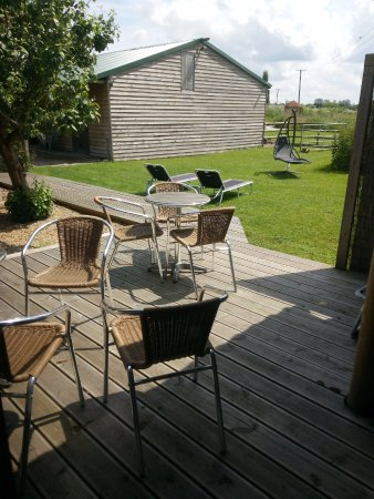 Wood Fen Lodge: A nice decking area to enjoy a drink, or to relax in