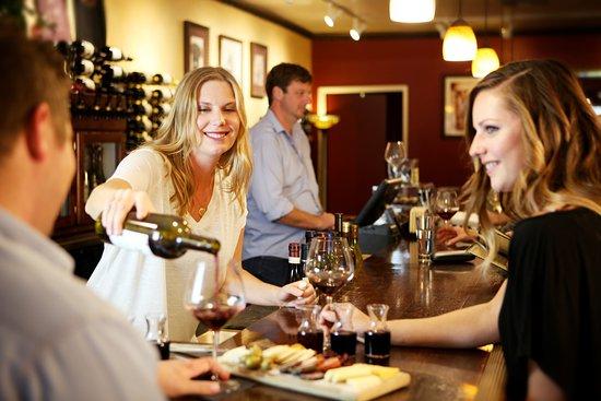 Wandering Dog Wine Bar: Enjoying wine flights and a gourmet cheese platter!