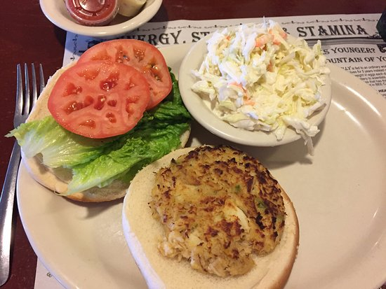 Morgantown, PA: Crab cake sandwich with coleslaw