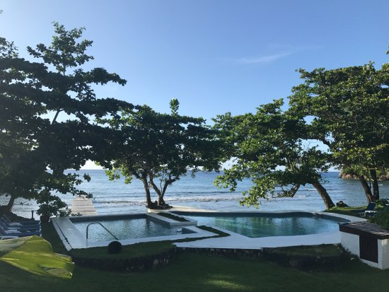 The Resort at Wilks Bay: View of the pool and ocean from our apartment (Guava)