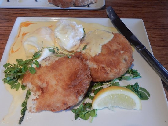 Constable Burton, UK: Fish Cakes and Poached Eggs - delicious