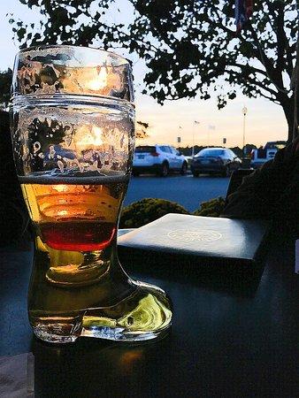 Bristol, RI: Benjamin's boot of beer on the patio