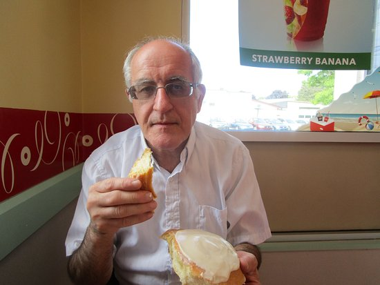 North Attleboro, MA: Louis eating his pastry.