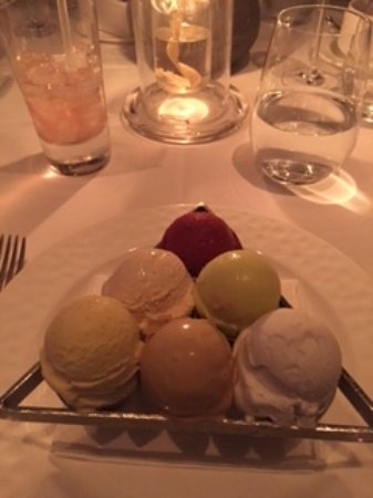 Aureole: Generous assortment of sorbets and ice cream in what looks like a pool table triangle.