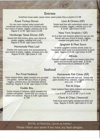 Middleton, แคนาดา: Updated menu