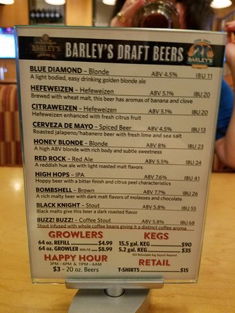 """Barley's Casino & Brewing Company: The new brew list. """"Buzz! Buzz!"""" Coffee Stout is GREAT!!"""