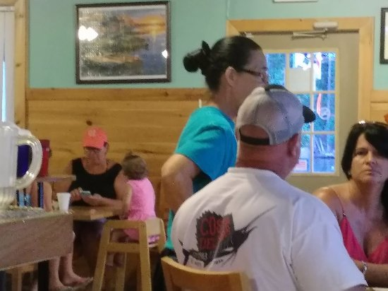 Monticello, GA: The rudest waitress ever (Black Hair), and her defender, who told us he thought we should go.