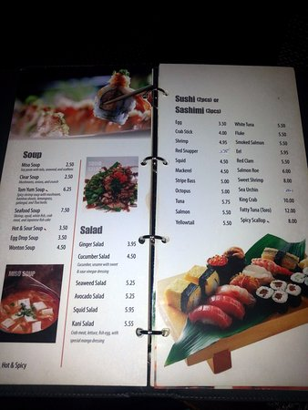 Algonquin, IL: soup, salad and sushi roll menu pages