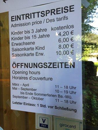 Гутах-им-Шварцвальд, Германия: Eintrittspreise