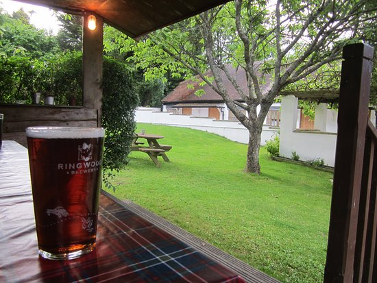 Plush, UK: Enjoying a pint in the gardens.