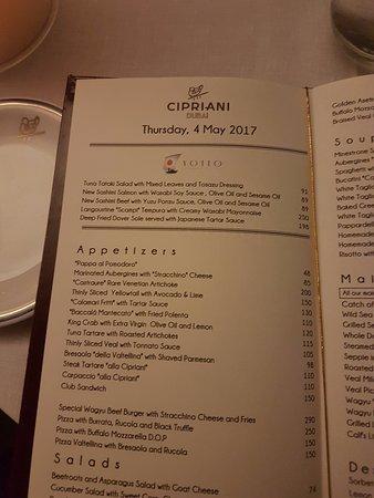 Menu Picture Of Cipriani Dubai
