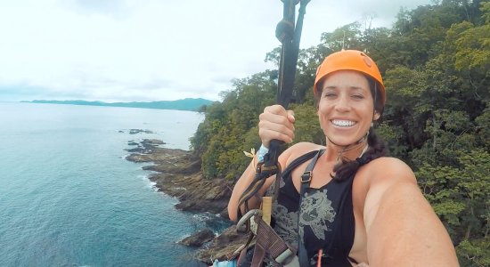 Sabang X Zipline: The water is so blue - and it was a cloudy day - check us out on Youtube (The NYC Couple)