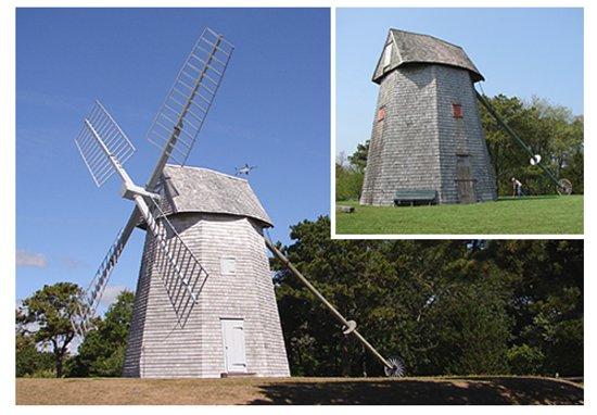 Chatham's Godfrey Windmill: The Godfrey Windmill before and after its 2009-12 historic restoration.
