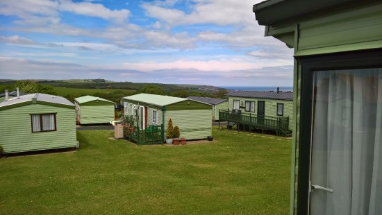 The Flask Inn Holiday Home Park: Sea in the distance
