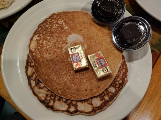 GARCIA 'S : Blue corn pancakes (avoid drowning with syrup in first bite to taste blue corn)