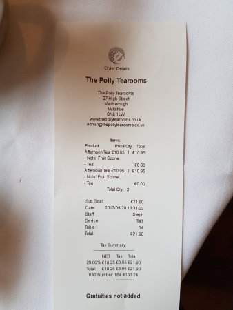 Rechnung - Picture of The Polly Tearooms, Marlborough - TripAdvisor