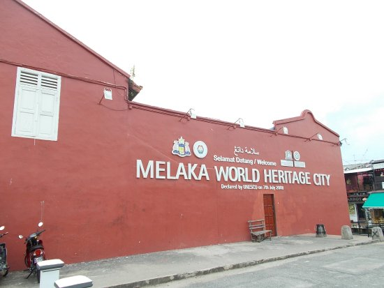 St. Francis Xavier Church: The big 'Melaka World Heritage City' sign across the street from the front grounds of the Church