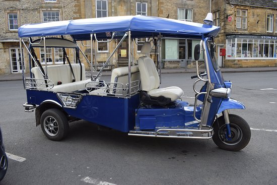The Slaughters, UK: Our lovely tuk tuk is available for all types of hire from cream tea express to full day tours