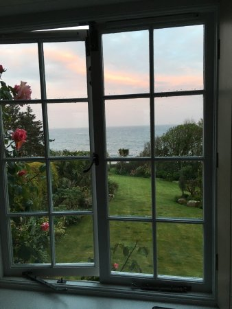 St Buryan, UK: View down the lawn to the sea