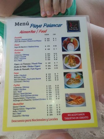 Playa Palancar: Food menu