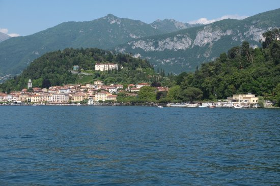 Mezzegra, Italy: View of the lake taking nearest docks (Lenno), Bellagio in the distance