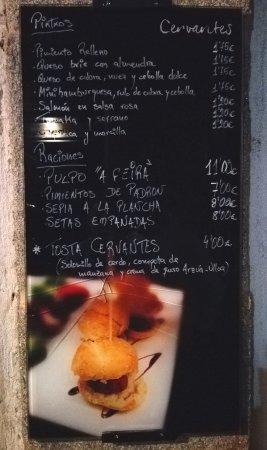 Vinothek Cervantes: Brief menu indoors