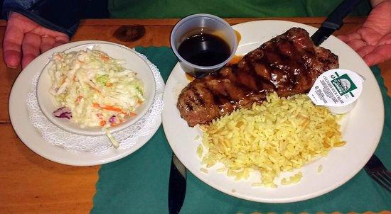 Biddeford, ME: Teriyaki Steak, Rice Pilaf, plus an extra side of Coleslaw.