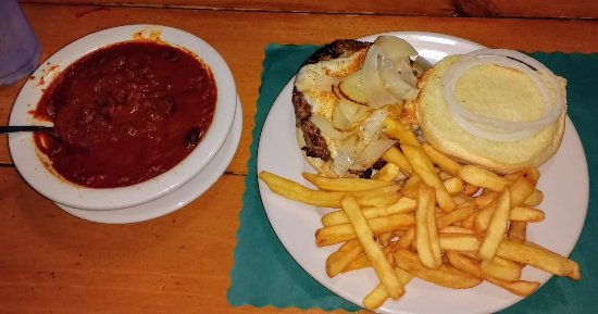 Biddeford, ME: Cheeseburger with fries plus a bowl of chili.