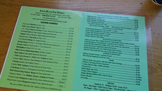 South Beach, OR: menu