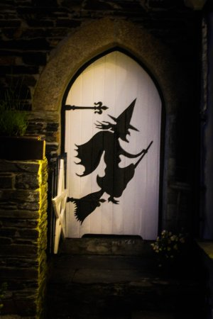 The Museum of Witchcraft and Magic: witchy door outside museum