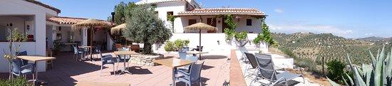 Riogordo, Spain: Het terras waar ook het ontbijt wordt geserveerd en waar je heerlijk kunt zitten.