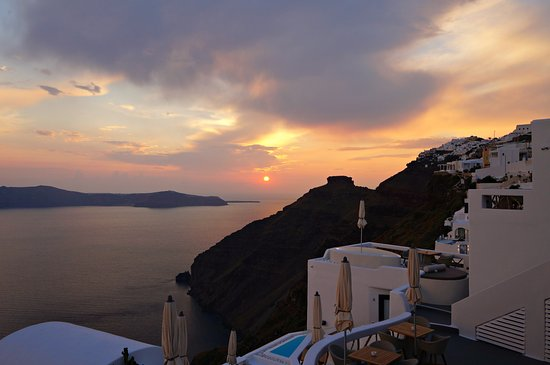 Santorini View: Sunset from our room